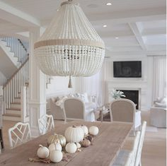 The Best Of Farmhouse Fall Decor Inspiration - Linen and Ivory Fall Home Decor, Autumn Home, Autumn Fall, Ro Sham Beaux, Home Interior, Interior Design, Bright Homes, Coastal Living Rooms, Dining Room Lighting