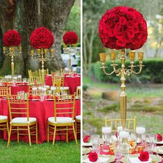 Am besten eignen sich für eine Tischdeko Hochzeit Rot Weiß natürlich die romantischen roten Rosen. Aber auch andere Hochzeitsfarben könen toll aussehen....