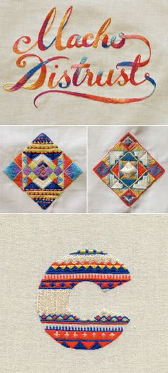 Pattern, texture, and type geometric embroidery (the fair isle monogram is pretty cool too)