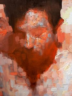 Artist: Eric Pedersen {contemporary figurative #expressionist male head man face abstraction texture smudged painting}