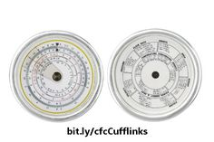 This pair of cufflinks for the math enthusiast features, on one link, a high-resolution scan of a vintage antique circular slide rule showing various numeric scales, and on the other link, the back side of the slide rule which shows various measurement conversion tables. An interesting gift for the nerdy geek in your life. https://www.zazzle.com/z/3sgbj&tc=20170221_pint_CaWA #jewelry #accessories #calculation #StudioDalio #Zazzle