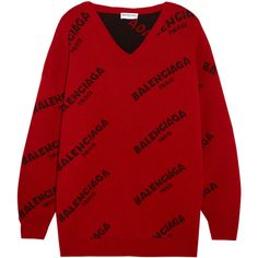 Balenciaga Balenciaga - Intarsia Wool-blend Sweater - Red ($810) ❤ liked on Polyvore featuring tops, sweaters, wool blend sweater, intarsia sweater, red sweater, one sleeve sweater and v-neck top