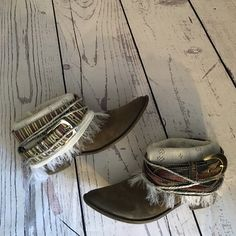 Upcycled cowgirl boho boots Tag says they are a size 7/5 but fits more like a size 6/5-7. Shoes Ankle Boots & Booties
