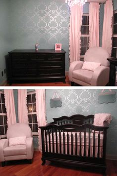 Simple Rhyme Nursery Stencil by Cutting Edge Stencils. Love the simple detailing. Wall color is Drizzle by Benjamin Moore, stenciled color is Silver by Modern Masters.