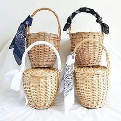 100% Handmade Fashion Straw Woven Tote Wicker Bag With Lid Bamboo Basket Handbag