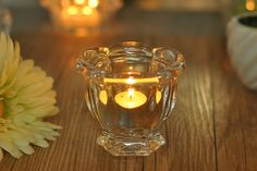Flower Design Clear Glass Candle Holder