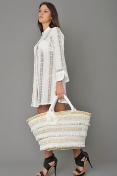 #Hand made #straw #bag decored with #swarosky crystals and #white #macrame #lace. via Etsy.