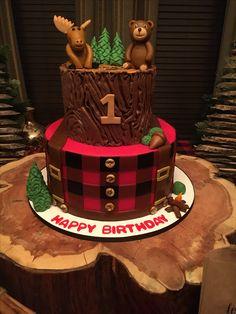 First birthday cake Lumberjack Cake, Lumberjack Birthday Party, Wild One Birthday Party, Baby Boy First Birthday, Fall Birthday, First Birthday Cakes, Boy Birthday Parties, Birthday Ideas, 2nd Birthday