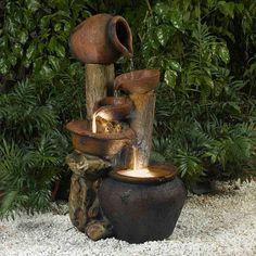 Jeco Pentole Pot Illuminated Water Fountain (Glass), Outdoor Décor