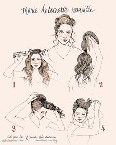 Rubi Jones x Samantha Hahn Illustrated Hair Tutorial for Wanderlust - Marie Antoinette Revisited Down Hairstyles, Pretty Hairstyles, Drawing Hairstyles, Braided Hairstyles, How To Draw Hair, Tips Belleza, Hair Day, Hair Hacks, Hair Tips