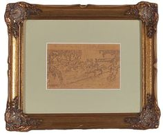 HALFDAN EGEDIUS DRAMMEN 1877 - CHRISTIANIA 1899  Outline for illustration of Snorre Kongesagaer: King their son Rørek and his men  Pencil on paper, 9,2x14,5 cm  unsigned Nov 2016, Outline, Pencil, King, Drawings, Paper, Frame, Illustration, Black