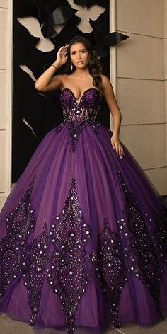 27 Colourful Wedding Dresses For Non-Traditional Bride ❤ colourful wedding dresses purple sweetheart neckline ball gown minnafashion #weddingforward #wedding #bride