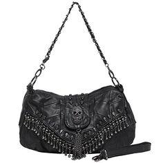 Aibag PARKIN Black 3D Skull Studded Fringe Beads Lambskin Leather Purse Shoulder Bag -- You can find more details by visiting the image link.