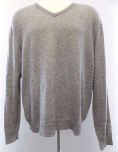 Club Room Cashmere Sweater XL Gray Mens V Neck Fine Luxury Heather Men Size Sz** #ClubRoom #VNeck