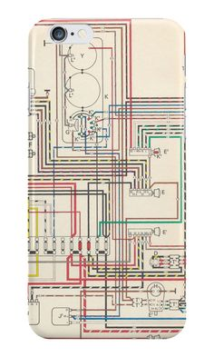 """Vintage wiring diagram"" iPhone Cases & Skins by opul 