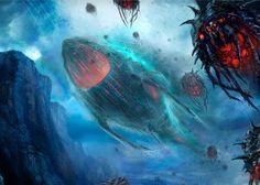 StarCraft - Leviathan by Drawgoon Fantasy Beasts, Fantasy Art, Starcraft Zerg, Sci Fi Background, Alien Ship, Monster Fishing, No Man's Sky, Alien Concept Art, Stars Craft