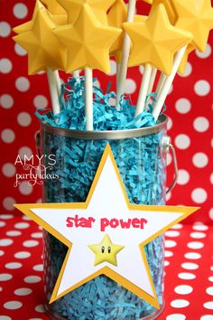 super mario party ideas dessert table candy bar star power detail 2. Anothe adorable candy item for the #LegoDuploParty