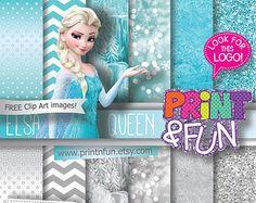 FROZEN Fondos Digitales Papel digital Elsa prediseñada brillo aqua plateado nieve bokeh verde azulado párrafo imprimibles Invitaciones cajas ETIQUETAS