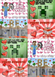 PERSONALIZED MINECRAFT VALENTINES Cards - Printable diy Valentine's Day Creeper Fast
