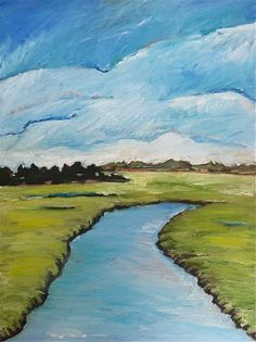 Large Abstract Marsh Painting