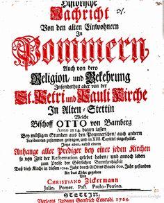Historische Nachricht von den alten einwohner in Pommern, Zickermann, 1724