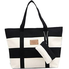 BG174 Women Canvas Chic Color Blocking Black White Shoulder Handbag -- Click image to review more details.
