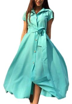 be82725621 HTOOHTOOH Womens Summer Short Sleeve SingleBreasted Long Maxi Dress with  Belt Green S    Find
