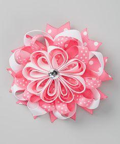 Picki Nicki Hair Bowtique Pink & White Polka Dot Flower Clip by Picki Nicki Hair Bowtique #zulily #zulilyfinds