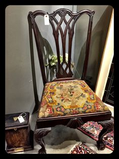 Antique Chippendale chair with needle point seat, $175.  Gaslamp Antiques Too, booth T138.