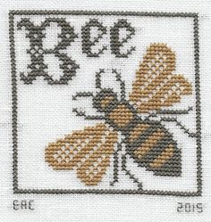 """Design - """"Bee Ornament"""" Chart - """"Where There Are Bees"""" Designer - The Prairie Schooler Fabric - 28 count white Cashel . Bee Embroidery, Cross Stitch Embroidery, Embroidery Patterns, Cross Stitch Charts, Cross Stitch Designs, Cross Stitch Patterns, Bee Crafts, Sewing Crafts, Bee Creative"""