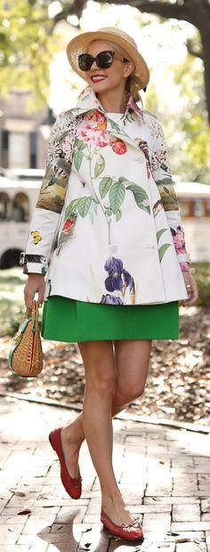 White Flower Print Coat / Green Dress / Red Flats / Light Hat