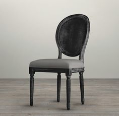 Vintage French Cane Back Round Upholstered Side Chair | Fabric Arm & Side Chairs | Restoration Hardware - Dining Room
