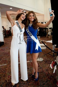 Paulina Vega, Miss Universe Colombia 2014, and Gabriela Berrios, Miss Universe Puerto Rico 2014, pose for a selfie at the Trump National Doral Miami on January 6, 2015. #GabrielaBerrios #MUPR #MUPR2014 #MissPuertoRico #MissUniverse2014 #MissUniversePuertoRico #MissUniversePuertoRico2014 #PaulinaVegaDieppa #MissColombia #GabrielaBerriosPagan #Doral #Florida