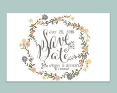 Bohemian Summer Save the Date Postcard // Summer Save the Date with Floral Wreath by WrittenInDetail on Etsy
