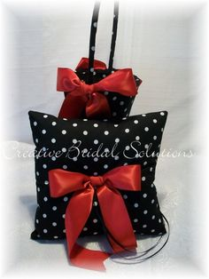 Black and White Polka Dot with Red Wedding flower Girl Basket and Ring Pillow Set
