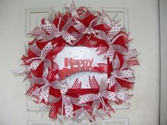 Only 48 Dollars...WHAT? Happy Valentines Day Deco Mesh Door Wreath, Hearts, Gift, Red, silver, Polka Dots. Can you believe this is only $48?! I got a great deal on a pallet of premium ribbons, so my savings is passed on to you. Once these colors of ribbon are gone, I'll have to buy ribbon retail again so the prices will go up. Take advantage of these prices while you can. Think birthday, Valentine's Day and other occasions gifts. They are unique gifts and can even be customized. I have a…