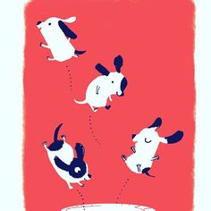 I'm going to screen-print these bouncy pups.  #screenprinting #printmaking  #illustration