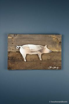 Pig Reclaimed Wood & Shaped Metal Art $85