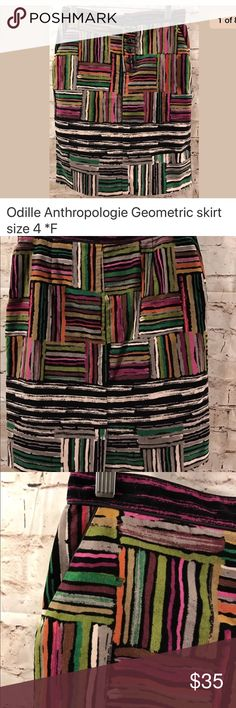 Odille Anthropologie velvet skirt size 4 In good preowned condition with no damage no stains no odors. This skirt is beautiful and has a velvet texture. Please ask questions if you have any. Odille Skirts Midi