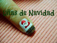 Uñas de Navidad - Christmas nail art  ♥  diseño de uñas navideñas,  Papa Noel, Santa, Viejito Pascuero.