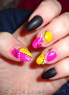 Color Pop Abstract Nail Art: Pink & Yellow! Thanks for checking out my new nail art design idea! This is the latest abstract nail design I have. I adore these bright & vibrant nails! I opted to round these acrylic nails on myself. I have since changed my nails, but I do remember receiving many compliments. I also fell in love the idea of matte black nails adorning any vibrant nail polish colors. I feel it adds just a bit of edge to the nail art designs. #prom