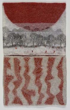 Erma Martin Yost. Stitching on handmade felt. Links to interview with artist.