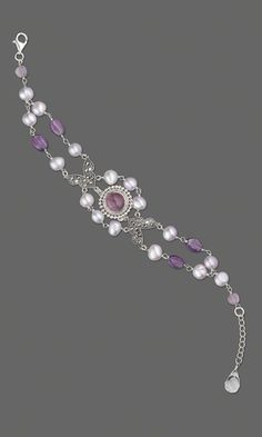 Double-Strand Bracelet with Sterling Silver and Amethyst Button and Cultured Freshwater Pearls