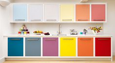 Brighten Your Kitchen with colored cabinets
