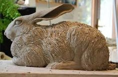 Hare sculpture by Nick MackmanI like the shape of the eyes a lot, and the defined roman nose and realistic nares Pottery Animals, Ceramic Animals, Clay Animals, Pottery Sculpture, Sculpture Clay, Pottery Art, Sculptures Céramiques, Garden Sculptures, Rabbit Sculpture