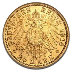 Freie Hansestadt Hamburg, 20 Mark, 7.16g Gold, 2. Wahl, 1875-1913
