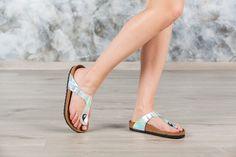 Tongs #Birkenstock ® Gizeh couleur argenté pour femme en birko-Flor® Miroir (#Mirror Silver) - BK846941   Birkenstock France