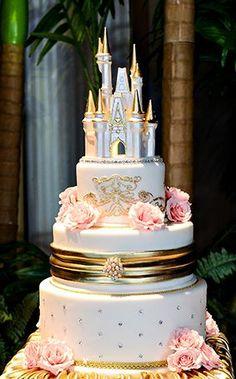 A Cinderella Castle wedding cake topper adds a subtle yet nostalgic touch of Disney