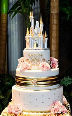 we ❤ this! moncheribridals.com #weddingcake #disneywedding #castleweddingcake