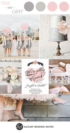 "Pink and Gray Elegant Wedding Color Ideas and Invitations// Use coupon code ""CVB"" to get 10% off towards all the invitations. #elegantweddinginvites"